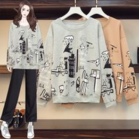 Casual Sweatshirt Women Plus Size Tops 2021 Autumn Graffiti Printed Sweatshirt Fashion Casual Big Size Pulllover