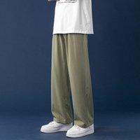 Hommes Summer Cool Silk Pantalon Droit 2021 Mince Lumière Jambe sauvage Pantalons surdimensionné Couleur Solide Pantalon masculin Vêtements Coréen Streetwear