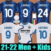 21 22 inter away soccer جيرسي lukaku ميلان فيدال barella lautaro eriksen errikis hakimi كرة القدم قميص 2021 2022 زي الرجال + أطفال عدة مجموعة الرابع الرابع