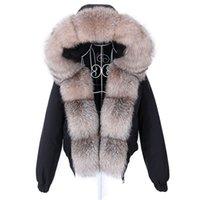 MAOMAOKONG Fashion short Women's Real fur coat natural raccoon big fur collar winter parka bomber jacket Waterproof 211013