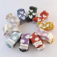 Топ-продавец Kawaii зимний коралловый бархат теплые носки женские плюшевые милые носки сердца точка узор ковров женские носки