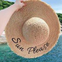 الصيف raffia القبعات للنساء اليدوية شاطئ القش قبعة سيدة كبيرة واسعة بريم 11-12 سنتيمتر بنما sunhat مع التطريز الشمس من فضلك