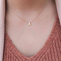 SUMENG Fashion Tiny Initial Necklace Gold Silver Color Cut Letters Single Name Choker Necklaces For Women Pendant Jewelry Gift