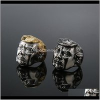 Other Arts And Crafts Fashion Usa Trump Jewelry Sier Gold Color American President Mens Cool Biker Ring Iia512 Qcydj Keq5M