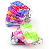 Push Bubble Silikonowe Keychain Fidget Sensory Zabawki Dzieci Mental Arytmetyczne Puzzle Zabawki Tie Dye Palec Popper Fun Puzzle Stress Relief 19 Kolory G53EQNP
