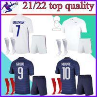 Homem + Kids Kit and Socks 2021 Griezmann Mbappe França Soccer Jersey 20 21 Zidane Pogba Camiseta Maillot de Futebol
