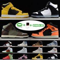 """[سوار + الجوارب + المربع الأصلي] SB Dunk High """"Strawberry Cough"""" Strawberry Cough Paul Rodriguez Invert Celtics Varsity Maize casual sports skateboard shoes"""