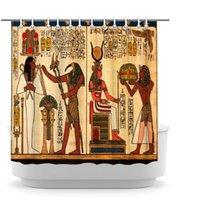 Cortina de ducha de reina egipcia Egipto Faraón Antiguo rey Afro Africano Mujer Cortinas de baño Vintage Bañera Decoración 72x72inch