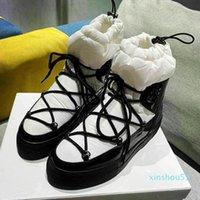 designer Warm Boots Winter For Women Fashion MIxed Color Fur Lace Up Moon Runway Platform Low Heels Waterproof