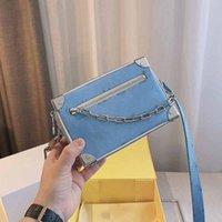 Boxes Bags Flap Purse Women Shoulder Bag Plain Fashion Letter Printing Chain Decoration Zipper Genuine Leather Long Strap