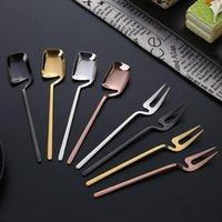 Spoons Stainless Steel Mini Tea Spoon Coffee Fruit Forks Elegant Cake Fork Rainbow Dessert Dinnerware Set Kitchen Tools