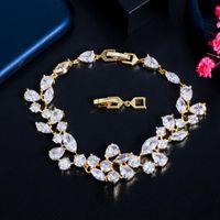 Link, Chain BeaQueen Luxury Dazzling Wide Big Leaf White Cubic Zirconia Crystal Bracelets Bridal Wedding Jewelry Accessories B217