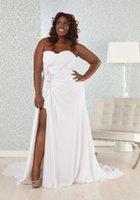 African Plus Size Wedding Dresses High Split Beach Style Bea...