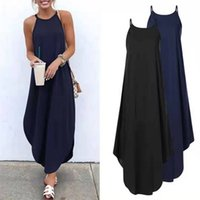 Women Dress Summer Casual Sleeveless Halter Solid Beach Long Round Neck Sling Fashion Clothes Plus Size 5XL 210611