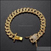 Charm Bracelets Jewelryeuropean And American Hip Hop Mens Butterfly Button Hiphop Gold Plated Bracelet Cross Border Fl Diamond Cuban Drop De