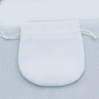 비드 매력 팔찌 여성용 리본 벨벳 주머니 Pandora 쥬얼리 생일 선물 흰색 가방 외부 포장