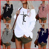 Sexy Off Shoulder T Shirt Letters Printed Women Fashion Casual Autumn O Neck Long Sleeved Loose TShirt Plus Size Cotton Pullovers Tops Wome