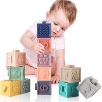Juguetes para bebés 0 12 meses Bloque de construcción suave Baby Grase de bebé TEYING TEJERO TRANSCHE TEETHER SENSORY BAÑO JUGUETE Bloque de apilamiento Regalo