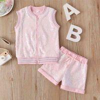 여름 아기 유아 rompers 여자 옷 민소매 장식 스팽글 패션 지퍼 셔츠 핑크 반바지 의상 12m-5t 210629
