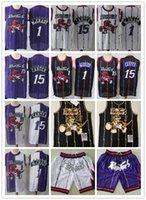Pour des hommesTorontoRetourRapacesJerseys 15 VinceCharretier1 tracyMcGrady Basketball Shorts Basketball Jersey Purple Blanc Black Or