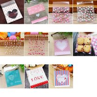 100pcs 10x10cm Love Cute Plastic Transparent Cellophane Candy Cookie Gift Bag For Biscuit Snack Baking Package Party Supplies Wrap