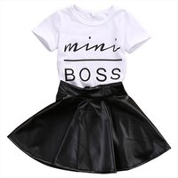 Fashion Toddler Kids Girl Clothes Set Summer Short Sleeve Mini Boss T Shirt Tops Leather Skirt 2pcs Outfit Child Suit