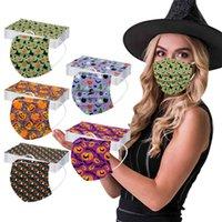 Máscaras de mergulho 20 pc Adulto Halloween Imprimir máscara confortável Três camadas descartáveis protetora à prova de vento à prova de vento respirável cosplay masque