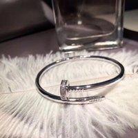 316L oro plata titanio acero clásico cz brazalete pulsera de uñas boda inlay diamante mujeres y hombres amor joyería regalo