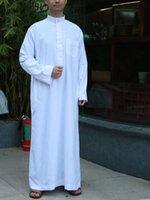 Vêtements ethniques Arabe Saoudite Manches en pleine manche Abaya Islamic Hommes Longue Robe Kaftan Musulman pour Pakistan Prier plus Taille Jubba Thobe