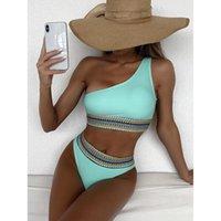 Women's Swimwear High Waist Bikinis 2021 Mujer Women Swimsuit Bikini Set One Shoulder Swimming For Bathing Suit Maillot De Bain