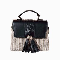 Evening Bags 2021 Summer Square Tassel Weave PU Shoulder Bag For Women Girl Lady INS PP Straw Woven Box Purses Handbags Lipstick