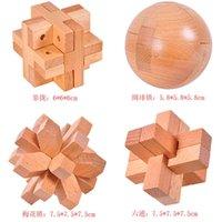 Luban bloqueio conjunto faia madeira desbloqueio anel benefício inteligência brinquedo kong minglock 4-peça de desenvolvimento de presente