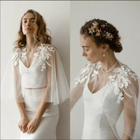 Wraps & Jackets Mingli Tengda Soft Tulle Wedding Cape Shoulder Applique Bridal Bolero Jacket Lace Women Formal Wear Wrap Shawl Custom Made C