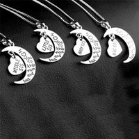 Pendant Necklaces Little big baby middle sister I LOVE YOU To THE MOON And BACK Women's Fashion Jewelry Necklace Pendant,sister Gift Heart