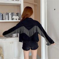 Women's Jackets Black tassels unequal gothic button Korean jean jackets streetwear denim harajuku jacket fashion spring outwear top 8XW2