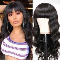 A onda peruana do corpo peruano do cabelo com bangs humano curto Bob Cranberry Máquina completa