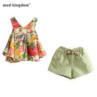 Mudkingdom 꽃 여자 복장 여름 휴가 꽃 소녀 민소매 블라우스 및 짧은 세트 아이 의류 양복 어린이 의류 210728