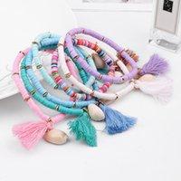 Multicolor Bohemian Shell Tassel Bracelet 7 colors Ehthic Beach Boho Statement Cotton Rope Chain Woven Bracelets for Women
