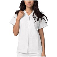 Kadın T-Shirt Moda Kadınlar Cep Kısa Kollu V Yaka Katı Renk Ince Hemşirelik Çalışma Üniforma Tops Rahat Gevşek T-Shirt # G1
