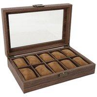 시계 상자 케이스 여러 상자 나무 보석 저장 포장 창 유리 디스플레이