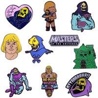 Pines, Broches Master del Universo He-Man Badge Skeeletor Villano Castillo Grayskull Esmalte Pin Retro 80s Dibujos animados Broche Fans Gran Colección