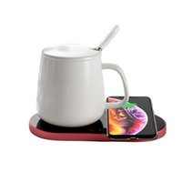 Mobile phone wireless charger for Apple Android Coffee milk cup warmer constant temperature insulation coaster teacup heater Keep warm cellphone fast charge