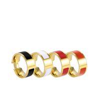 Bague de bande en acier inoxydable de concepteur 6mm Femmes Fashion Hommes Anneaux Lettres H Boucle Bijoux Bijoux Accessoires Cadeau Cadeau 5-11