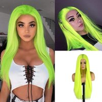 Synthetic Wigs 26 Inch Fluorescent Green Silky Straight Machine Wig For Women Middle Part Hair Cosplay Dray Queen No Lace Yellow