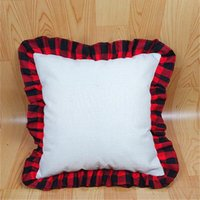 Sublimation Lace Pillow Cover Red Black Plaid Pillowcase Household Supplies DIY Personalized Printed Festival Gifts For Friends