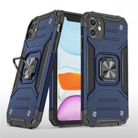 Magnetic Metal Finger Ring Holder Phone Case For iPhone 13 12 11 Pro Max Back Cover [Built in Kickstand Camera Protector] Shockproof Hard PC Soft Silicone Bumper Hybrid