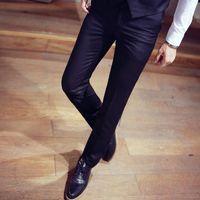 Men's Suits & Blazers Autumn Red Suit Trousers Male Business Casual Black Pants 29-34