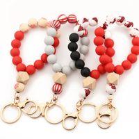 Silicon Wood Strands Beads Bague Bague Bracelet Bracelet Porte-clés Chemin de Noël Modèles de festival de Noël Perlé Bracelet Halloween Pour Femmes Holiday Bijoux Accessoires