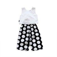 Kids Clothing Sets Girls Outfits Baby Clothes Children Suit Summer Chiffon Tops Vest Dots Trousers Wide leg pants 2Pcs 2-6Y B5201