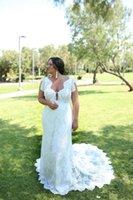 2021 Simple Lace Mermaid Wedding Dresses Ivory V Neck Sheath Bohemian Bridal Gown Plus Size Beach Wedding Dress